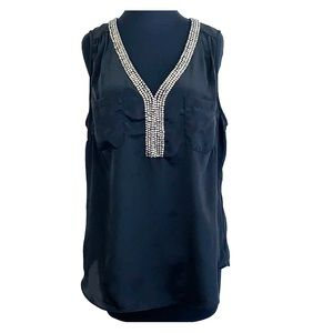 Willow & Clay Beaded Jewel V-Neck Cute Tank Top L
